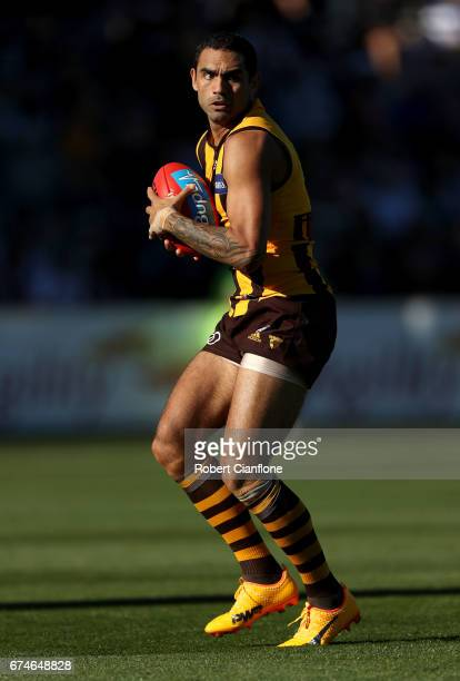 Shaun Burgoyne of the Hawks takes the ball during the round six AFL match between the Hawthorn Hawks and the St Kilda Saints at University of...