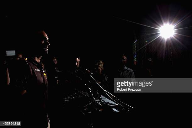 Shaun Burgoyne speaks to the media during a Hawthorn Hawks AFL media session at Waverley Park on September 22 2014 in Melbourne Australia
