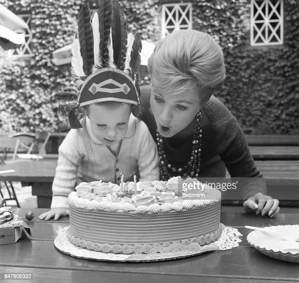 Shaun Cassidy blows out the candles on his second birthday cake with the help of his famous mother actress Shirley Jones in Nye York Shirley's...