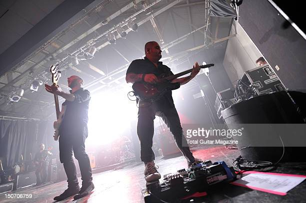 Shaun Cooper and Eddie Reyes of American rock band Taking Back Sunday live on stage at Bath Pavilion August 29 2011