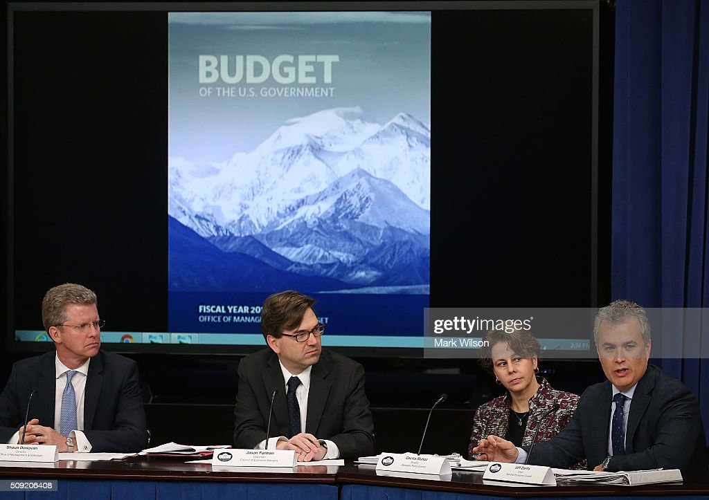 , Shaun Donovan, OMB Budget Director, Jason Furman, Chairman of the Council of Economic Advisers, Cecilia Muoz, Director of the Domestic Policy Council and Jeff Zients, Director of the National Economic Council, participate in a briefing on President Obama's FY 2017 budget request, at the White House, February 8, 2016 in Washington, DC.
