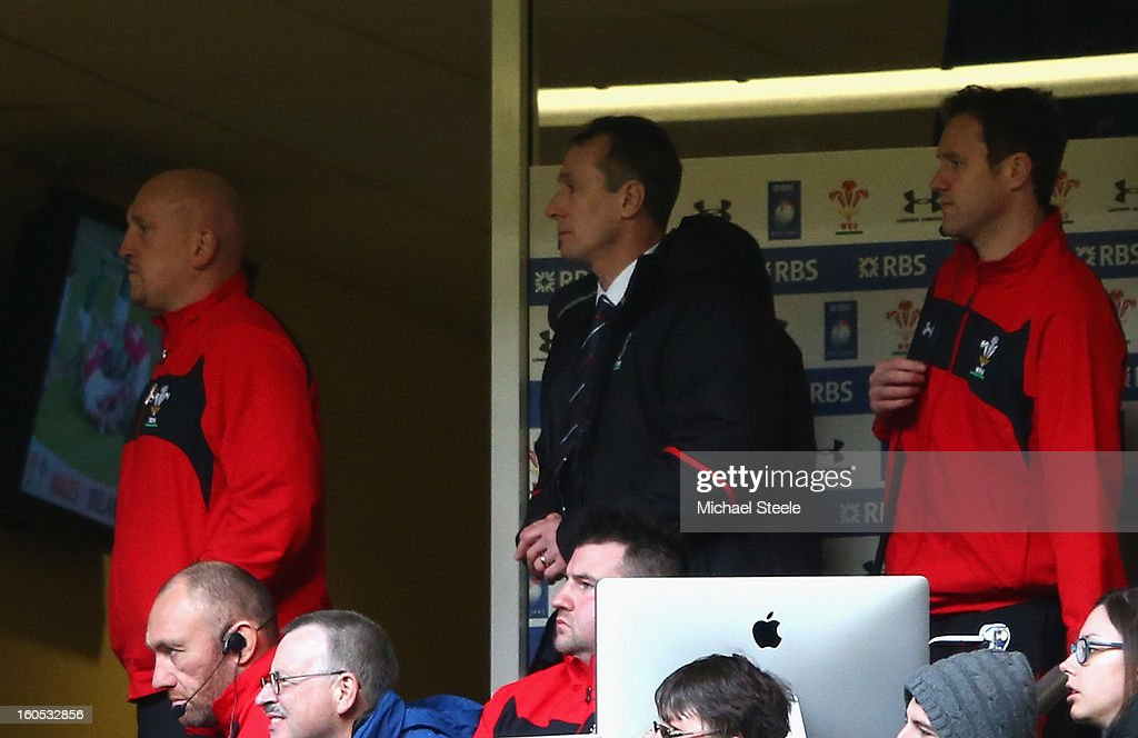 <a gi-track='captionPersonalityLinkClicked' href=/galleries/search?phrase=Shaun+Edwards+-+Rugby+Player&family=editorial&specificpeople=15368723 ng-click='$event.stopPropagation()'>Shaun Edwards</a> the Wales defence Coach (L) Wales Interim Head Coach <a gi-track='captionPersonalityLinkClicked' href=/galleries/search?phrase=Rob+Howley&family=editorial&specificpeople=215419 ng-click='$event.stopPropagation()'>Rob Howley</a> and <a gi-track='captionPersonalityLinkClicked' href=/galleries/search?phrase=Mark+Jones+-+Welsh+Rugby+Wing+Born+1979&family=editorial&specificpeople=4583736 ng-click='$event.stopPropagation()'>Mark Jones</a> the Wales attack Coach (R) look on during the RBS Six Nations match between Wales and Ireland at the Millennium Stadium on February 2, 2013 in Cardiff, Wales.