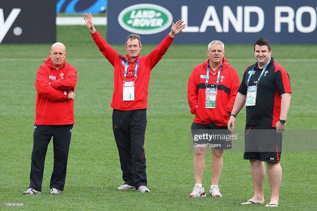 Shaun Edwards the Wales defense coach, Rob Howley the Wales assitant coach, Warren Gatland the Wales head coach and Rhys Long the Wales head of performance analysis look on during a Wales IRB Rugby World Cup 2011 captain's run at Eden Park on October 14, 2011 in Auckland, New Zealand.