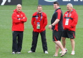 Shaun Edwards the Wales defense coach Rob Howley the Wales assitant coach Rhys Long the Wales head of performance analysis and Warren Gatland the...