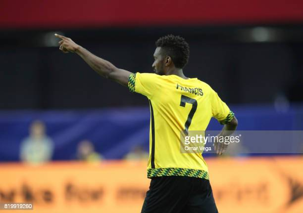 Shaun Francis of Jamaica celebrates after scoring the first goal of his team during the CONCACAF Gold Cup Quarterfinal match between Jamaica and...