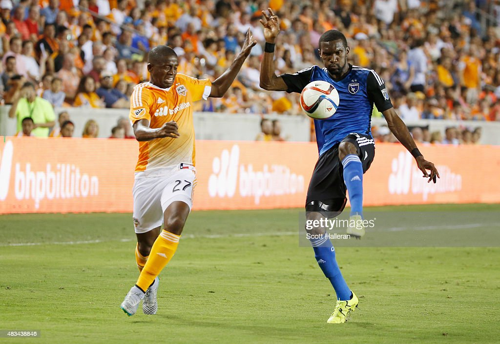 <a gi-track='captionPersonalityLinkClicked' href=/galleries/search?phrase=Shaun+Francis&family=editorial&specificpeople=7107858 ng-click='$event.stopPropagation()'>Shaun Francis</a> #20 of the San Jose Earthquakes battles for the ball with Boniek Garcia #27 of the Houston Dynamo during their game at BBVA Compass Stadium on August 8, 2015 in Houston, Texas.