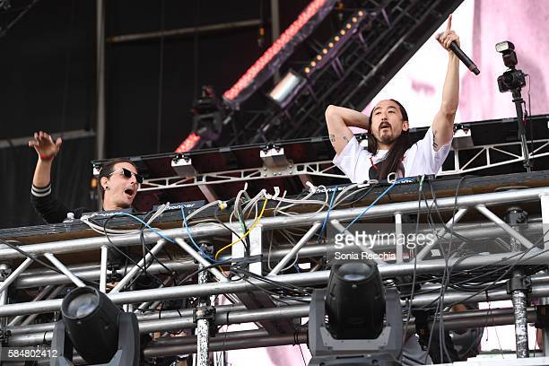 Shaun Frank and Steve Aoki perform at Veld Music Festival at Downsview Park on July 30 2016 in Toronto Canada