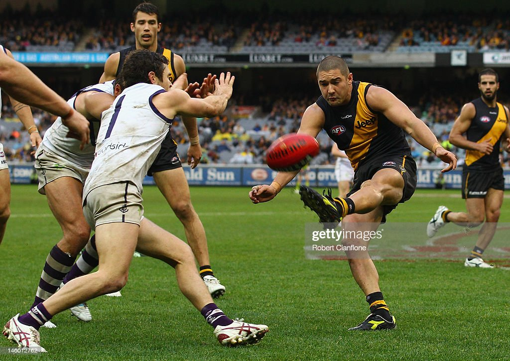 Shaun Grigg of the Tigers kicks the ball during the round 11 AFL match between the Richmond Tigers and the Fremantle Dockers at Melbourne Cricket Ground on June 9, 2012 in Melbourne, Australia.