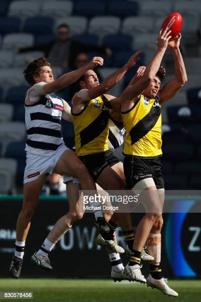 Shaun Hampson of Richmond marks the ball strongly during the round 16 VFL match between Geelong and Richmond at Simonds Stadium on August 12 2017 in...