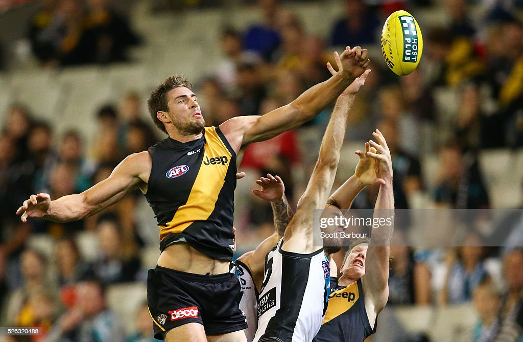 Shaun Hampson of the Tigers competes for the ball during the round six AFL match between the Richmond Tigers and the Port Adelaide Power at Melbourne Cricket Ground on April 30, 2016 in Melbourne, Australia.
