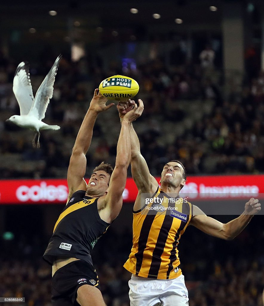 Shaun Hampson of the Tigers is challenged by Jonathon Ceglar of the Hawks during the round seven AFL match between the Richmond Tigers and the Hawthorn Hawks at Melbourne Cricket Ground on May 6, 2016 in Melbourne, Australia.