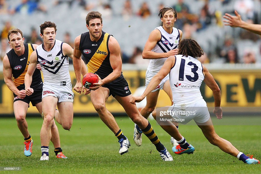 Shaun Hampson of the Tigers runs with the ball during the round 13 AFL match between the Richmond Tigers and the Fremantle Dockers at Melbourne Cricket Ground on June 14, 2014 in Melbourne, Australia.