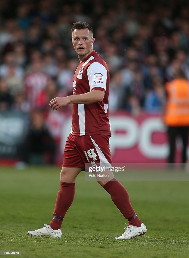 Shaun Harrad of Cheltenham Town in action during the npower League Two Play Off Semi Final Second Leg between Cheltenham Town and Northampton Town at Abbey Business Stadium on May 5, 2013 in Cheltenham, England.