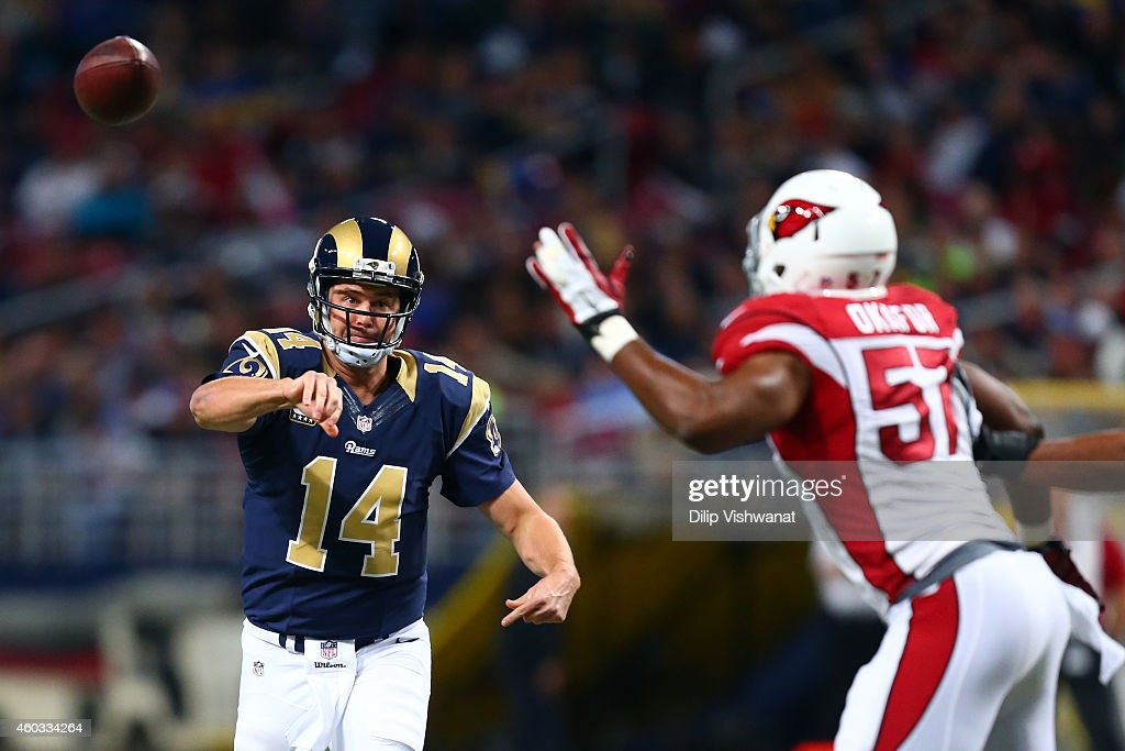Shaun Hill #14 of the St. Louis Rams throws a pass in the first quarter against the Arizona Cardinals during their game at Edward Jones Dome on December 11, 2014 in St Louis, Missouri.