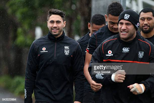 Shaun Johnson and Bodene Thompson arrive during a New Zealand Warriors NRL training session at Mt Smart Stadium on June 22 2016 in Auckland New...