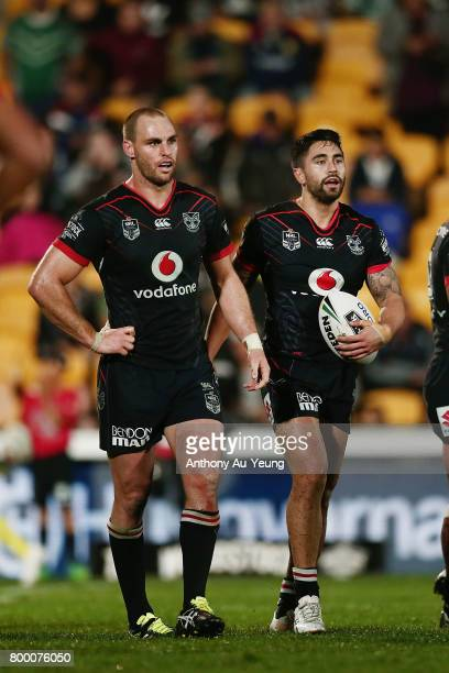 Shaun Johnson and Simon Mannering of the Warriors look on during the round 16 NRL match between the New Zealand Warriors and the Canterbury Bulldogs...