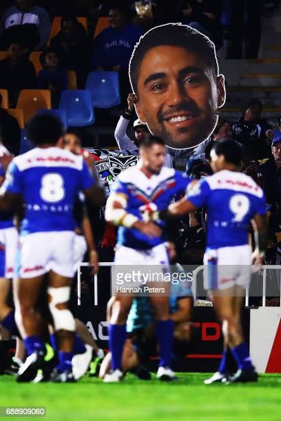 Shaun Johnson fans show their support during the round 12 NRL match between the New Zealand Warriors and the Brisbane Broncos at Mt Smart Stadium on...
