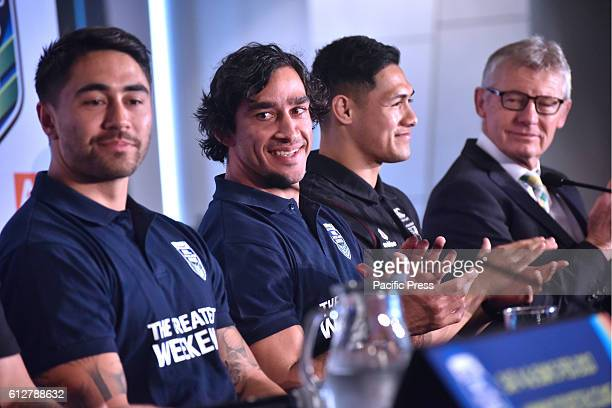 Shaun Johnson Johnathan Thurston and RogerTuivasa Sheck at press conference They are the rugby league's greatest superstars to play Downer Auckland...