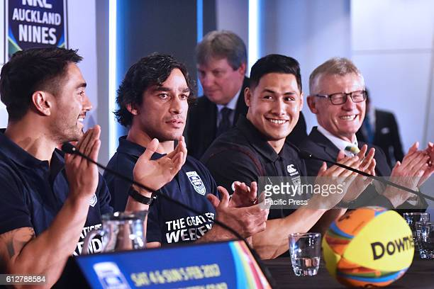 Shaun Johnson Johnathan Thurston and RogerTuivasa Sheck share a light moment at press conference They are the rugby league's greatest superstars to...