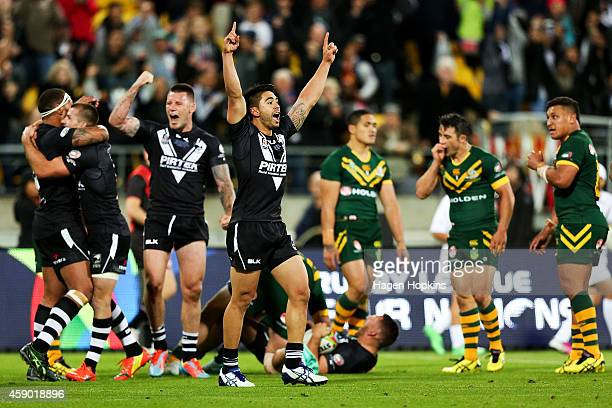 Shaun Johnson of New Zealand celebrates at the final whistle after winning the Four Nations Final between the New Zealand Kiwis and the Australian...