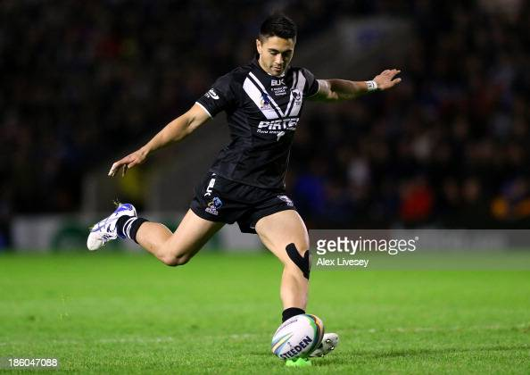 Shaun Johnson of New Zealand takes a conversion during the Rugby League World Cup Group B match between New Zealand and Samoa at the Halliwell Jones...