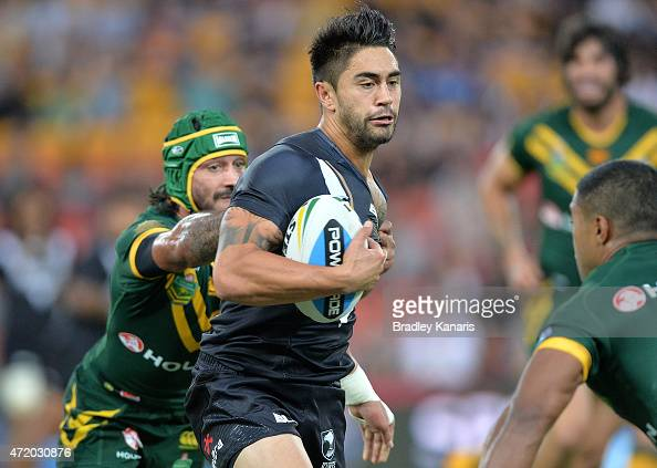 Shaun Johnson of the Kiwis attempts to break away from the defence during the TransTasman Test match between the Australia Kangaroos and the New...