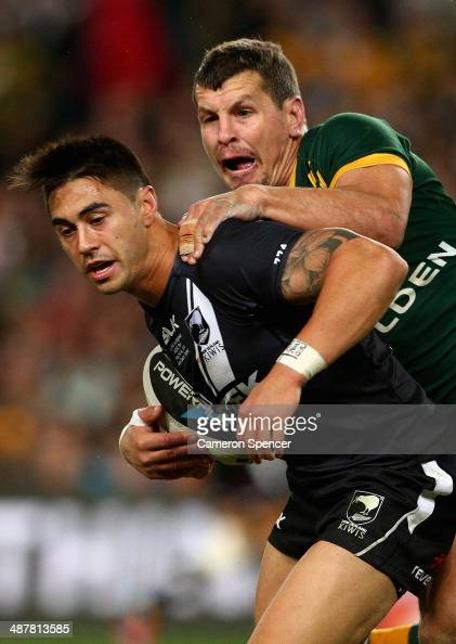 Shaun Johnson of the Kiwis is tackled by Greg Bird of the Kanagroos during the ANZAC Test match between the Australian Kangaroos and the New Zealand...