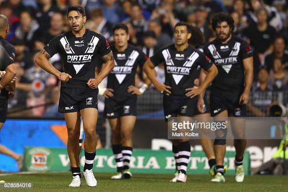 Shaun Johnson of the Kiwis looks dejected after a Kangaroos try during the International Rugby League Trans Tasman Test match between the Australian...