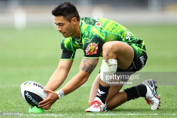 Shaun Johnson of the New Zealand Warriors lines up a kick during the NRL trial match between the Brisbane Broncos and the New Zealand Warriors at...