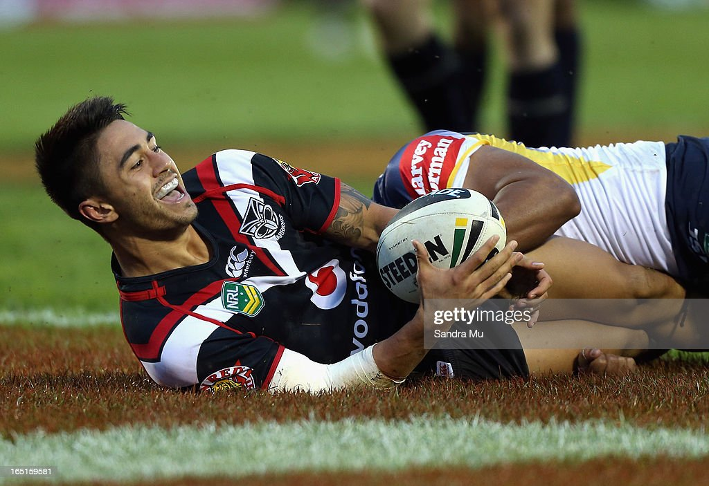 Shaun Johnson of the Warriors celebrates his try during the round four NRL match between the New Zealand Warriors and the North Queensland Cowboys at Mt Smart Stadium on April 1, 2013 in Auckland, New Zealand.