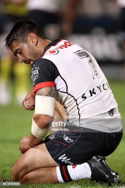 Shaun Johnson of the Warriors looks dejected during the round four NRL match between the St George Illawarra Dragons and the New Zealand Warriors at...