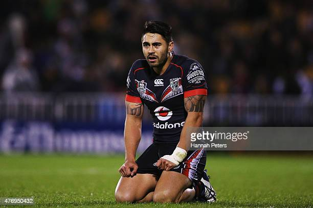 Shaun Johnson of the Warriors looks on after losing the round 14 NRL match between the New Zealand Warriors and the Sydney Roosters at Mt Smart...