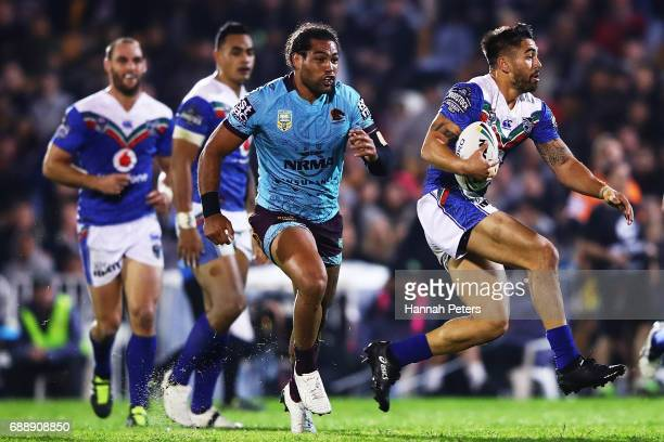 Shaun Johnson of the Warriors makes a break during the round 12 NRL match between the New Zealand Warriors and the Brisbane Broncos at Mt Smart...