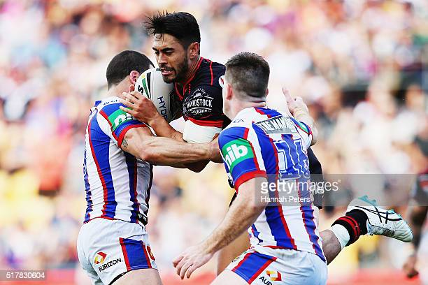 Shaun Johnson of the Warriors makes a break during the round four NRL match between the New Zealand Warriors and the Newcastle Knights at Mt Smart...