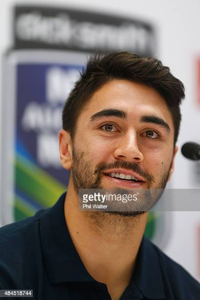 Shaun Johnson of the Warriors speaks during a NRL Nines press conference at Dick Smith Manukau on August 20 2015 in Auckland New Zealand