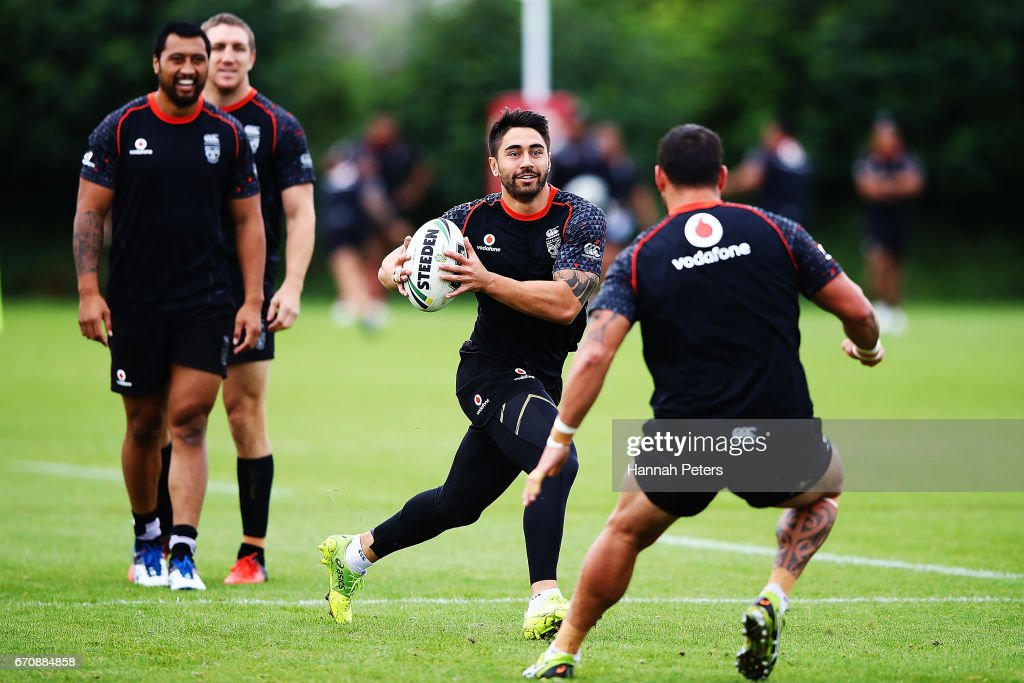 Shaun Johnson runs through drills during a New Zealand Warriors NRL training session at Mt Smart Stadium on April 21, 2017 in Auckland, New Zealand.