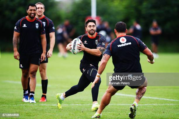 Shaun Johnson runs through drills during a New Zealand Warriors NRL training session at Mt Smart Stadium on April 21 2017 in Auckland New Zealand