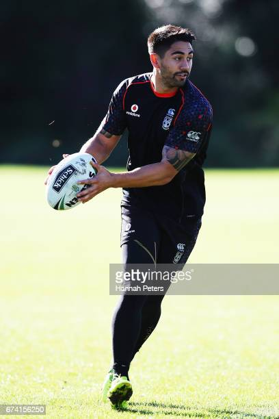 Shaun Johnson runs through drills during a New Zealand Warriors NRL training session at Mt Smart Stadium on April 28 2017 in Auckland New Zealand