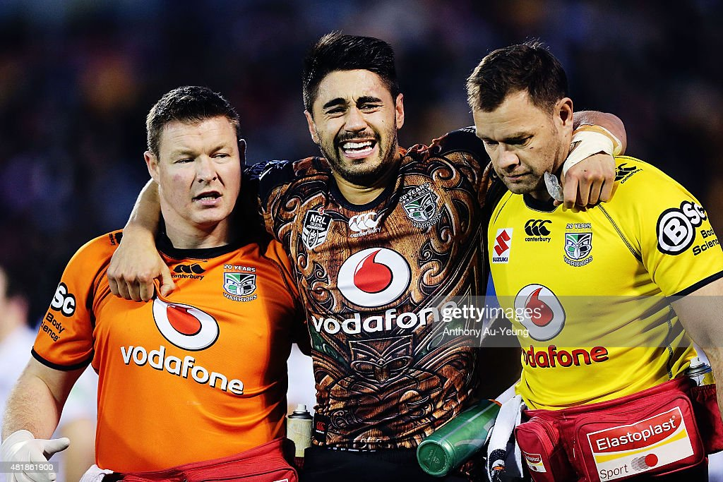 Shaun Johnson Shaun Johnson is carried off the field after a knock to his leg during the round 20 NRL match between the New Zealand Warriors and the...