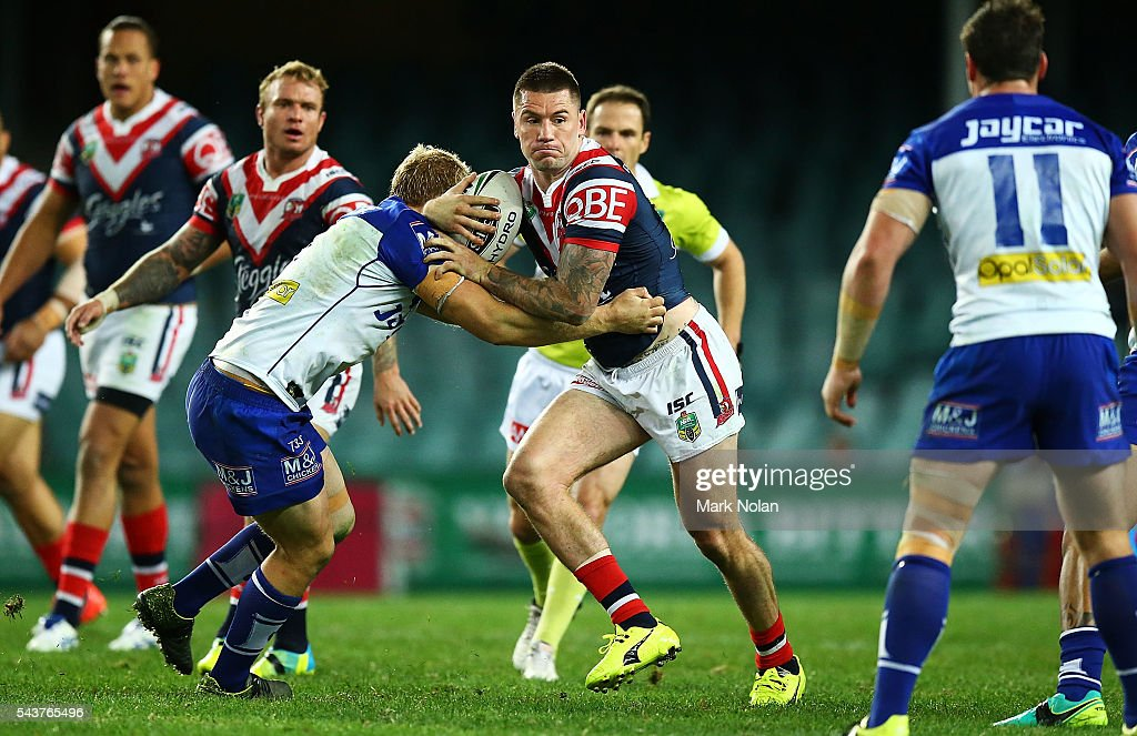 <a gi-track='captionPersonalityLinkClicked' href=/galleries/search?phrase=Shaun+Kenny-Dowall&family=editorial&specificpeople=2348788 ng-click='$event.stopPropagation()'>Shaun Kenny-Dowall</a> of the Roosters in action during the round 17 NRL match between the Sydney Roosters and the Canterbury Bulldogs at Allianz Stadium on June 30, 2016 in Sydney, Australia.