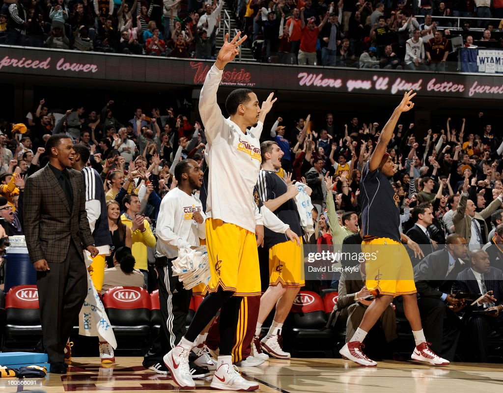 Shaun Livingston #14 and the bench of the Cleveland Cavaliers erupt during the game against the Oklahoma City Thunder at The Quicken Loans Arena on February 2, 2013 in Cleveland, Ohio.