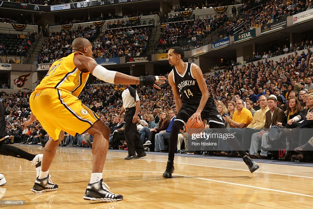 <a gi-track='captionPersonalityLinkClicked' href=/galleries/search?phrase=Shaun+Livingston&family=editorial&specificpeople=202955 ng-click='$event.stopPropagation()'>Shaun Livingston</a> #14 of the Brooklyn Nets controls the ball against the Indiana Pacers at Bankers Life Fieldhouse on February 1, 2014 in Indianapolis, Indiana.