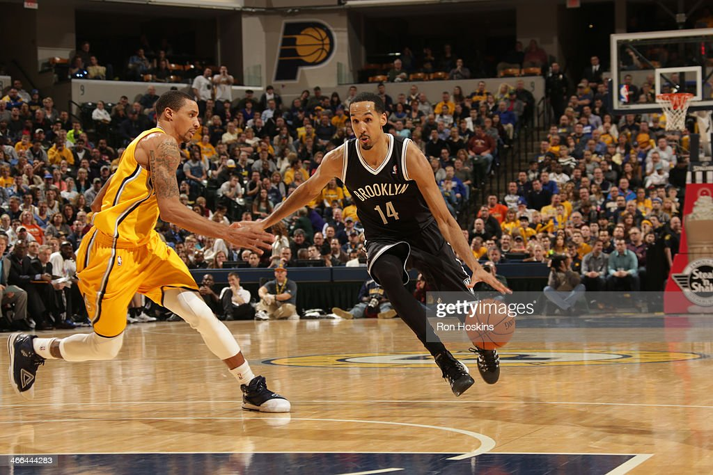 <a gi-track='captionPersonalityLinkClicked' href=/galleries/search?phrase=Shaun+Livingston&family=editorial&specificpeople=202955 ng-click='$event.stopPropagation()'>Shaun Livingston</a> #14 of the Brooklyn Nets drives to the basket against the Indiana Pacers at Bankers Life Fieldhouse on February 1, 2014 in Indianapolis, Indiana.
