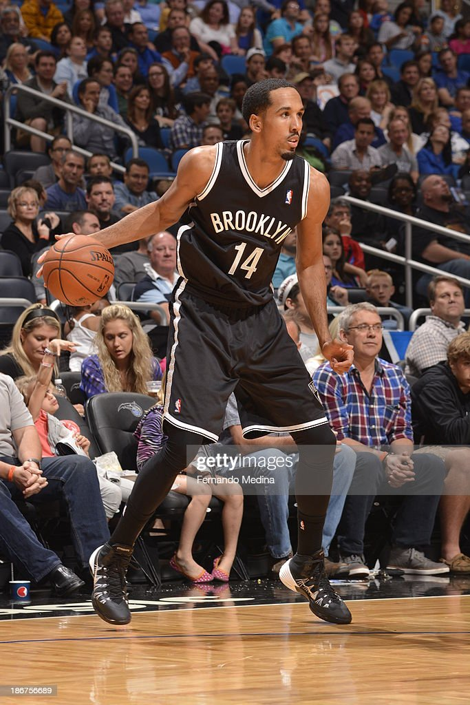 <a gi-track='captionPersonalityLinkClicked' href=/galleries/search?phrase=Shaun+Livingston&family=editorial&specificpeople=202955 ng-click='$event.stopPropagation()'>Shaun Livingston</a> #14 of the Brooklyn Nets handles the ball against the Orlando Magic on November 3, 2013 at Amway Center in Orlando, Florida.