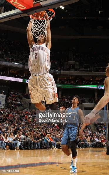 Shaun Livingston of the Charlotte Bobcats puts down a dunk against the Washington Wizards on January 8 2011 at Time Warner Cable Arena in Charlotte...