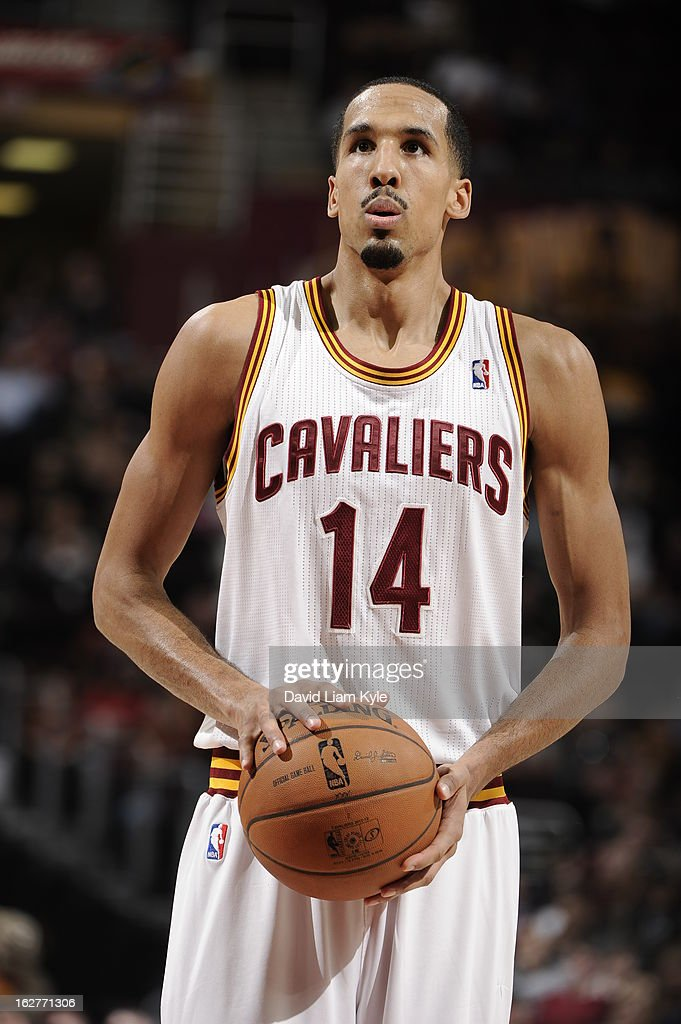 <a gi-track='captionPersonalityLinkClicked' href=/galleries/search?phrase=Shaun+Livingston&family=editorial&specificpeople=202955 ng-click='$event.stopPropagation()'>Shaun Livingston</a> #14 of the Cleveland Cavaliers attempts a foul shot in the game against the Golden State Warriors at The Quicken Loans Arena on January 29, 2013 in Cleveland, Ohio.