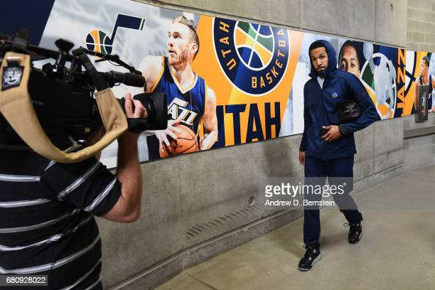 Shaun Livingston of the Golden State Warriors arrives at the arena before Game Three of the Western Conference Semifinals against the Utah Jazz...