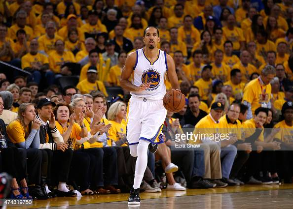 Shaun Livingston of the Golden State Warriors brings the ball up court in the second half against the Houston Rockets during game two of the Western...