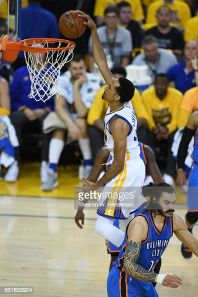 Shaun Livingston of the Golden State Warriors dunks the ball against the Oklahoma City Thunder during game one of the NBA Western Conference Final at...