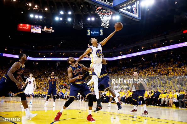 Shaun Livingston of the Golden State Warriors goes up against James Jones of the Cleveland Cavaliers in the second quarter during Game Five of the...